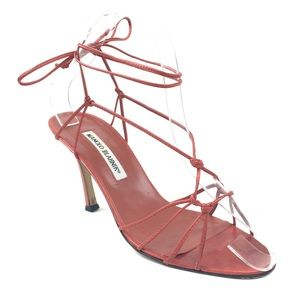 Manolo Blahnik Red Strappy Lace Up Heel Sandals